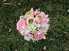 Crisp Pink Peony, Ranunculus  and Cherry Blossom Wedding Bouquet with Dusty Miller--- By Lovelee Flowers  475.00