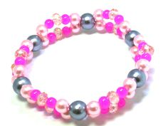 Jewelry for kids - Pink and Gray beaded Bracelet Designed By Shelly Ann. $7.99, via Etsy.