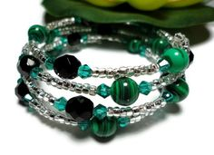 Bracelet Fashion Jewelry Memory Wrapped Emerald Green Black Gemstone | PinkCloudsAndAngels