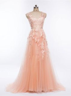Pretty blush pink V neck long halter senior prom dress, long bridesmaid dress with lace appliques from Sweetheart Dress Senior Prom Dresses, V Neck Prom Dresses, Unique Prom Dresses, Pink Prom Dresses, Pretty Dresses, Bridesmaid Dresses, Quinceanera Dresses, Dress Prom, School Dresses