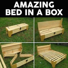 DIY Wood Bed in a Box Diy Pallet Projects, Pallet Ideas, Wood Pallet Crafts, Diy Pallet Bed, Woodworking Plans, Woodworking Projects, Learn Woodworking, Woodworking Techniques, Woodworking Furniture