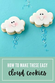 Learn how to make easy cloud cookies with royal icing that actually rain sprinkles! #thebearfootbaker