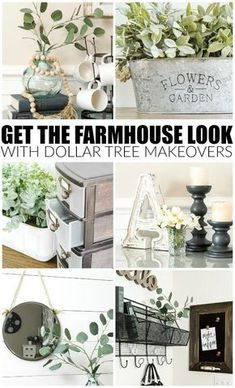 Vintage Decor Rustic Get the perfect farmhouse look with these DOLLAR TREE items! - Easy ideas for transforming basic Dollar Tree items into beautiful farmhouse decor! Diy Home Decor Rustic, Diy Kitchen Decor, Country Farmhouse Decor, Easy Home Decor, Cheap Home Decor, Farmhouse Style, Industrial Farmhouse, Kitchen Ideas, Farmhouse Ideas