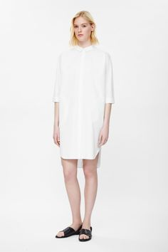 Cotton twill shirt dress