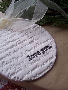 Salt dough (water, salt, flour) - use for handmade fancy tags, pendants etc.