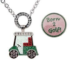 Golf Carts Ideas | Navika Magnetic Necklace with Swarovski Crystal Golf Cart and Glitzy Pink Born 2 Golf Ball Markers *** Check this awesome product by going to the link at the image. Note:It is Affiliate Link to Amazon. #BrowseOurUltimateGolfCarts