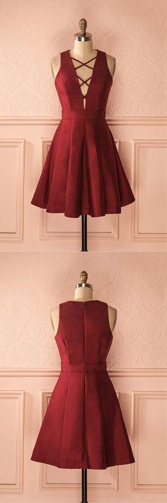 short burgundy homecoming dresses, cute a-line dresses for teens, cheap a-line dresses,