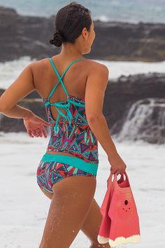 997aa89349 Impossible Swim - Starfish Print - A supportive halter swim top that isn't a