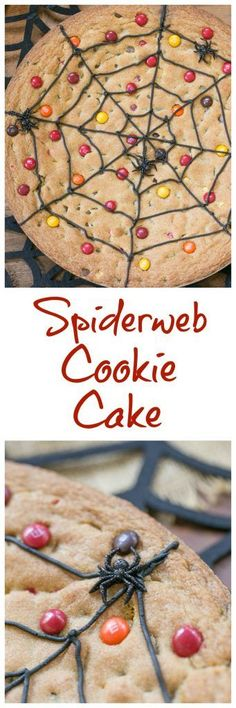 Spiderweb Cookie Cake | A fun and tasty Halloween dessert that will please the whole family!!! @lizzydo