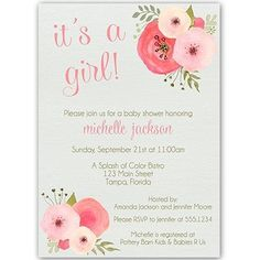 Botanical, Baby Shower Invitations, Girl, Watercolor Flowers, Vintage, Pink, Sage, Floral, 10 Custom Printed Invites with White Envelopes, FREE Shipping