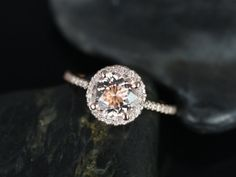 Another Etsy designer I just discovered...glad I kept looking!!! 14kt Rose Gold Thin Morganite Round Halo Engagement by RosadosBox, $950.00