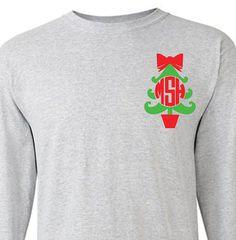 Monogram Christmas Tree Adult Long Sleeve T-Shirt by VinylDezignz