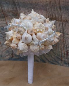 New for 2015 wedding season a Blue Bird Accent and Pearl Seashell Bouquet / Ocean Bouquet / Beach Bouquet / Summer Bouquet /  Made to Order