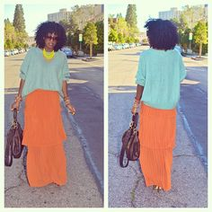 Today's fit: oversize pastel sweater & tiered maxi