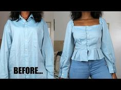 In today's video I'm showing you how to transform/refashion a men's shirt into a beautiful square neck peplum. Diy Clothes Tops, Revamp Clothes, Diy Tops, Sewing Clothes, Custom Clothes, Clothes Swag, Men Clothes, Shirt Refashion, Diy Shirt