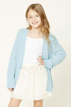 Forever 21 Girls - A ribbed knit cardigan featuring a buttoned front, V-neckline, and long sleeves.