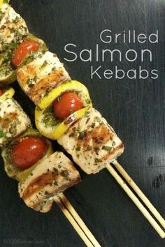 Grilled Salmon Kebabs | FOODIEaholic.com #recipe #cooking #grill #salmon #seafood #kebabs
