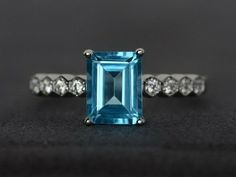 Emerald blue topaz ring solitaire love ring engagement ring 925 sterling silver #Affinity Gemstone Engagement Rings, Gemstone Rings, Ring Engagement, Blue Topaz Ring, Blue Sapphire Rings, September Birthstone Rings, Emerald Blue, Blue Gemstones, Smoky Quartz Ring