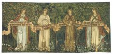The Seasons or Orchard, woven by Morris & Co. in wool, silk, and mohair on a cotton ground at Merton Abbey in 1890, designed by William Morris and John Henry Dearle.