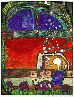 Friedensreich Hundertwasser - Blindes Auto I und LKW (1997)