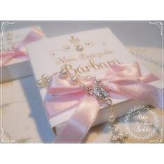 Lembrancinha de maternidade chá de bebê batizado rosa 1 caixa com 1 mini terço