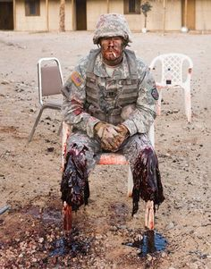 I have this as a fake but I'V BEEN CORRECTED. This is an amputee who helps soldiers train for realistic scenarios that they will face in combat.