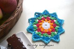 Starry flower coaster pattern by The Lazy Hobbyhopper