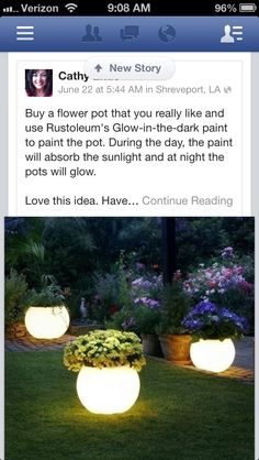 Glow in the dark pots to add interest to your lawn or porch.
