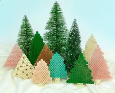 Christmas Glittered Trees Perler Project Pattern