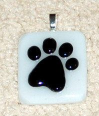 Fused Glass Paw Print Pendant  white and black by KarlaElyGlass, $22.00