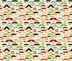 Mustache Stripe fabric by id_designs on Spoonflower - custom fabric