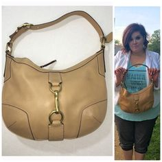 """Tan coach shoulder bag Excellent condition few minor spots to my eye as evidenced in photo 4- I have not tried to get them out with saddle soap though / interior is clean - timeless bag does not go out of style 13.5"""" across at widest width by 9"""" tall at shortest height Coach Bags Shoulder Bags"""