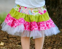 Sewing Patterns for Girls Dresses and Skirts: Sewing Pattern, Twirly Swirly Skirt (pdf pattern), 2 to10 Years