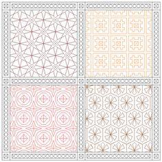Autumnal Colors Sampler- Blackwork Embroidery Pattern