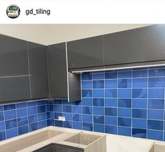 Indigo blue is an on-trend colour that will give your interior added wow factor. Match the half moon patterned decor tiles with the Indigo plain tiles for maximum effect, expertly demonstrated by Brick Bonds, Metro Tiles, Home Room Design, Tiling, Indigo Blue, House Rooms, Gd, Color Trends, Moon