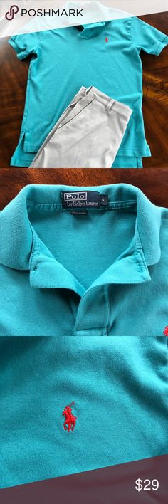 """Polo by Ralph Lauren Shirt EUC Polo by Ralph Lauren shirt. Teal Green with Red polo logo on the left chest. 2 buttons. 100% cotton Size small  Measurements lying flat: underarm to underarm 20"""" and total length 28"""" This listing is for the shirt only. Please check my closet for coordinating items. Both my sons played golf, and I'm selling their old golf clothes.  Much more to come. Polo by Ralph Lauren Shirts Polos"""
