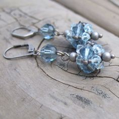 Sky Blue Earrings - Blue Swarovski Crystal Earrings - Blue Beaded Jewelry - Romantic Jewelry - Blue Bridesmaid Gift - Rustic Wedding
