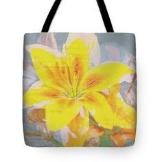 "Unlikely Lily Tote Bag by Flamingo Graphix John Ellis (18"" x 18"").  The tote bag is machine washable, available in three different sizes, and includes a black strap for easy carrying on your shoulder.  All totes are available for worldwide shipping and include a money-back guarantee."