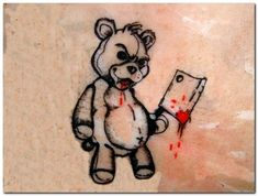 There are various teddy bear tattoos. The tattoo art is very vast and unique. Many people like to crave animals on their bodies. Small Teddy Bears, Cute Teddy Bears, Brass Knuckle Tattoo, Evil Teddy Bear, Japanese Demon Tattoo, Witches Alphabet, Teddy Bear Tattoos, Teddy Bear Drawing, Grim Reaper Art