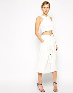 Image 1 of ASOS Midi Skirt With Button Detail