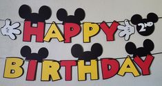 ****Your childs birthday party will be the Talk of the Town with this Mickey Mouse Clubhouse inspired birthday banner! Happy Birthday Mickey Mouse, Mickey Mouse Birthday Decorations, Mickey Mouse Banner, Theme Mickey, Mickey 1st Birthdays, Mickey Mouse Images, Fiesta Mickey Mouse, Mickey Mouse Clubhouse Birthday Party, Mickey Y Minnie
