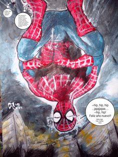Spiderman, fin de año. Lapicera bic y pintura acrílica. Tamaño A4 (21x29cm) Papel mate