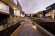 New Christchurch apartment complex designed by Cymon Allfrey | Landscaped central courtyard - gardens meet boxed seating