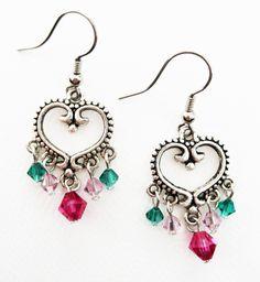 Swarovski Crystal Heart Chandelier Earrings