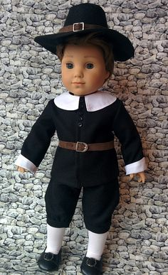 from AG Doll House - Logan American boy doll in pilgrim attire. Boy Doll Clothes, Doll Clothes Patterns, Pilgrim Clothing, Ag Doll House, American Boy Doll, 18 Inch Boy Doll, Disney Princess Outfits, Girl Dolls, Ag Dolls