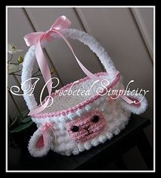 "Crochet Pattern: ""Lily or Lyle"" the Lamb Easter Basket, Permission to Sell Finished Items from ACrochetedSimplicity on Etsy. Saved to Crochet Patterns. Crochet Easter, Easter Crochet Patterns, Holiday Crochet, Crochet Patterns For Beginners, Knitting Patterns, Easter Projects, Easter Crafts, Crochet Gratis, Free Crochet"