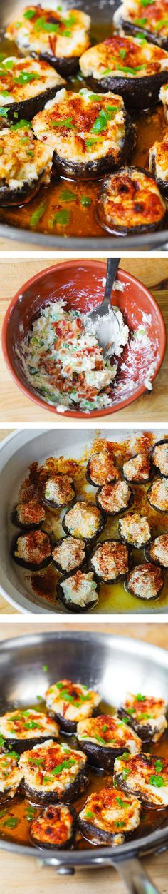 Bacon and Cheese Stuffed Mushrooms – delicious, homemade bite-sized mini-appetizers loved by adults and kids alike! Vegetables, snacks, party food, cheesy recipe: I made this! Mini Appetizers, Finger Food Appetizers, Appetizer Recipes, Healthy Appetizers, Thanksgiving Appetizers, Burger Recipes, Fingers Food, Cheese Stuffed Mushrooms, Cuisine Diverse
