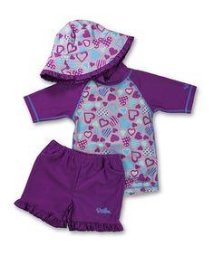 Loving this Purple Heartastic Rashguard Set - Infant & Toddler on #zulily! #zulilyfinds