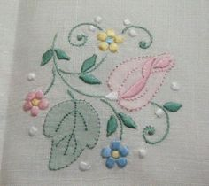 Vintage Madeira Embroidered Buff Linen Tablecloth 12 Napkins Rosebuds 64x102 | eBay