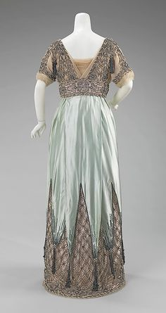 Dress, Evening.  House of Worth  (French, 1858–1956).  Designer: Attributed to Jean-Philippe Worth (French, 1856–1926). Designer: Attributed to Jean-Charles Worth (French, 1881–1962). Date: ca. 1910. Culture: French. Medium: silk, metal. Dimensions: Length at CB: 57 in. (144.8 cm).